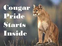 Cougar Pride starts inside with a cougar standing on a rock.