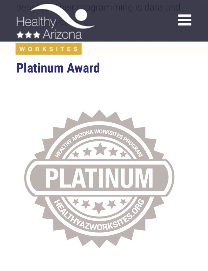 2020 Healthy Arizona Worksite Program Platinum Award