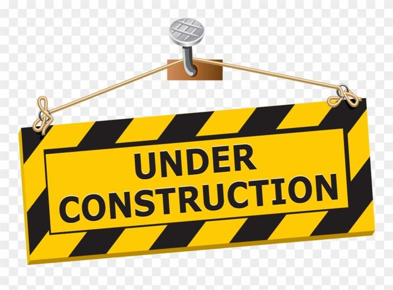 "Yellow and Black, diagonaly stripped ""under contruction"" sign, free clip art"