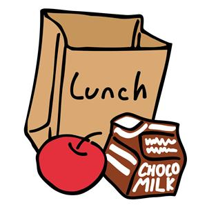 lunch bag with apple and milk