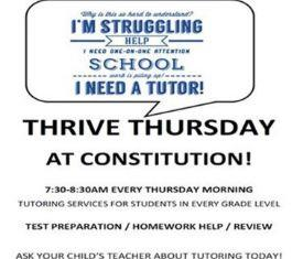 Thrive Thursdays grade level tutoring.