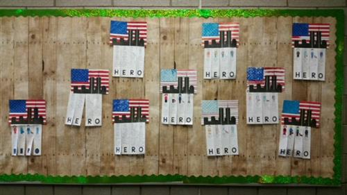bulletin board honoring heroes of 9/11
