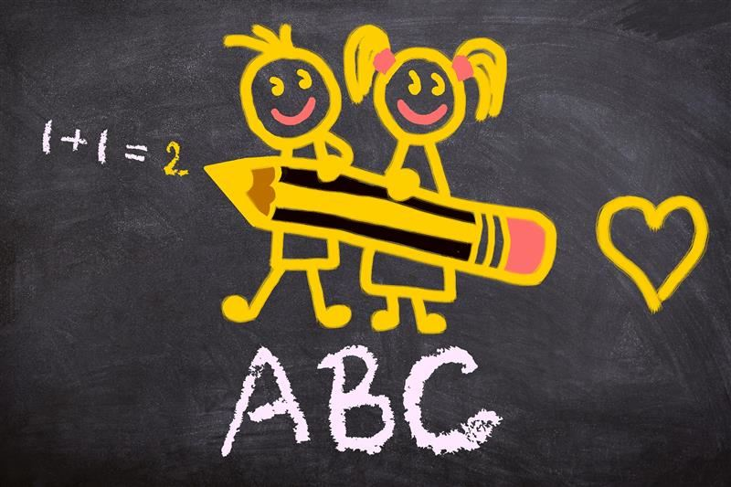 Yellow drawing of 2 kids holding a giant pencil with 1+1=2 and ABC written on the board.
