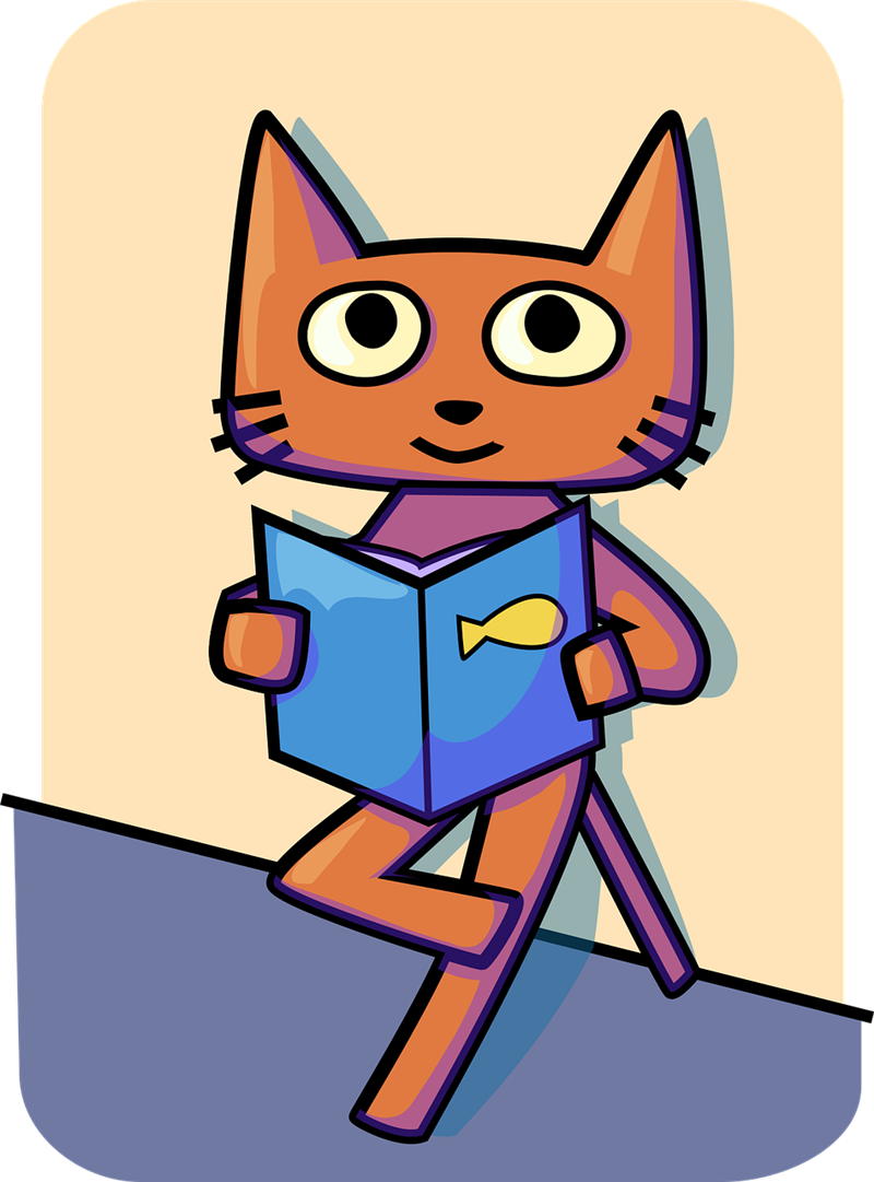 Animated cat with legs crossed, holding a book with a fish on the cover.