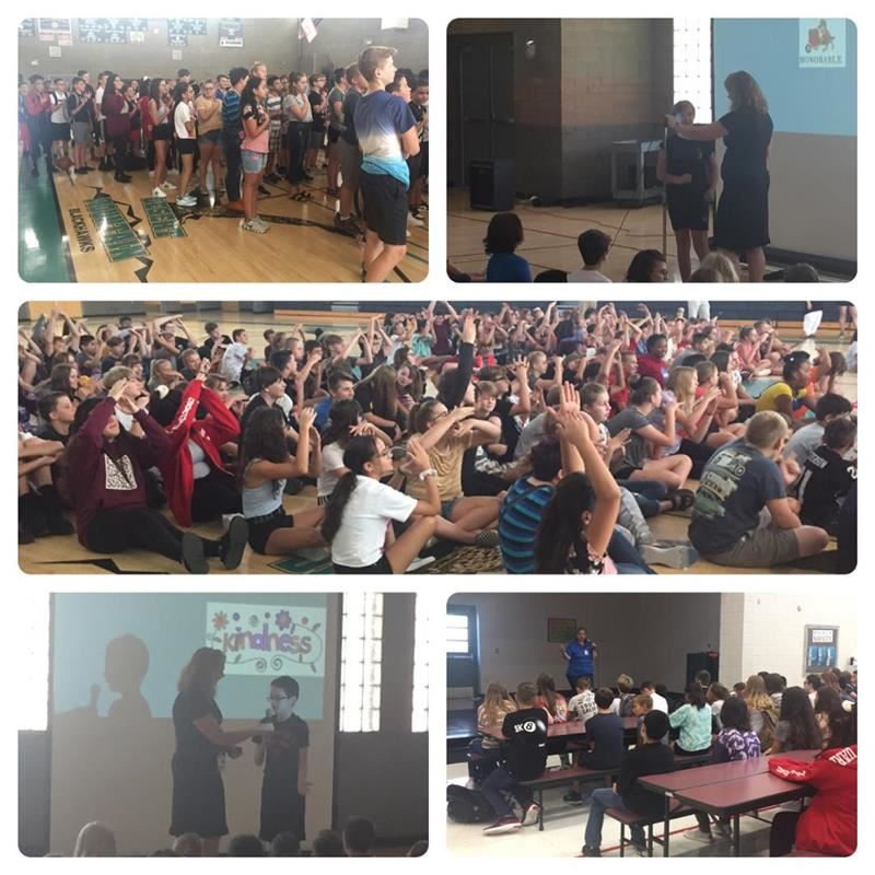 Collage of students at assemblies saying the Pledge, raising hands, and listening to speaker.