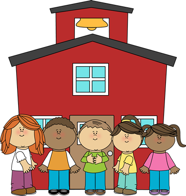 Animated picture of a red schoolhouse with five children standing in front of it.