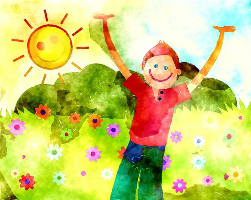 Watercolor of boy surrounded by flowers and smiling sun