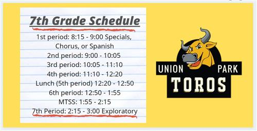7th Grade Regular Schedule