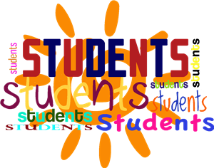 students in different fonts