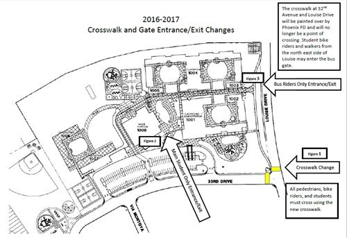 Arial map of campus depicting gate changes