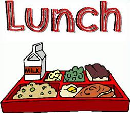 Clip art: red letters spell lunch, tray with food.