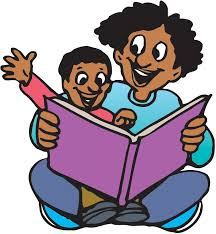 free clip art of man and chail reading a book.