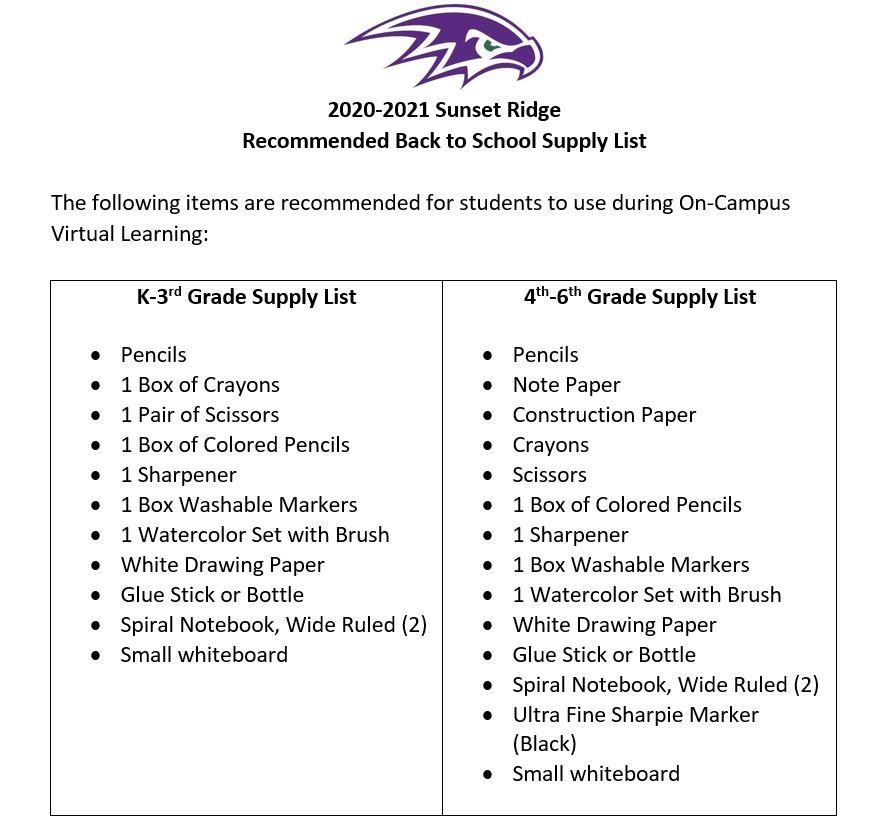 k-6 supply lists