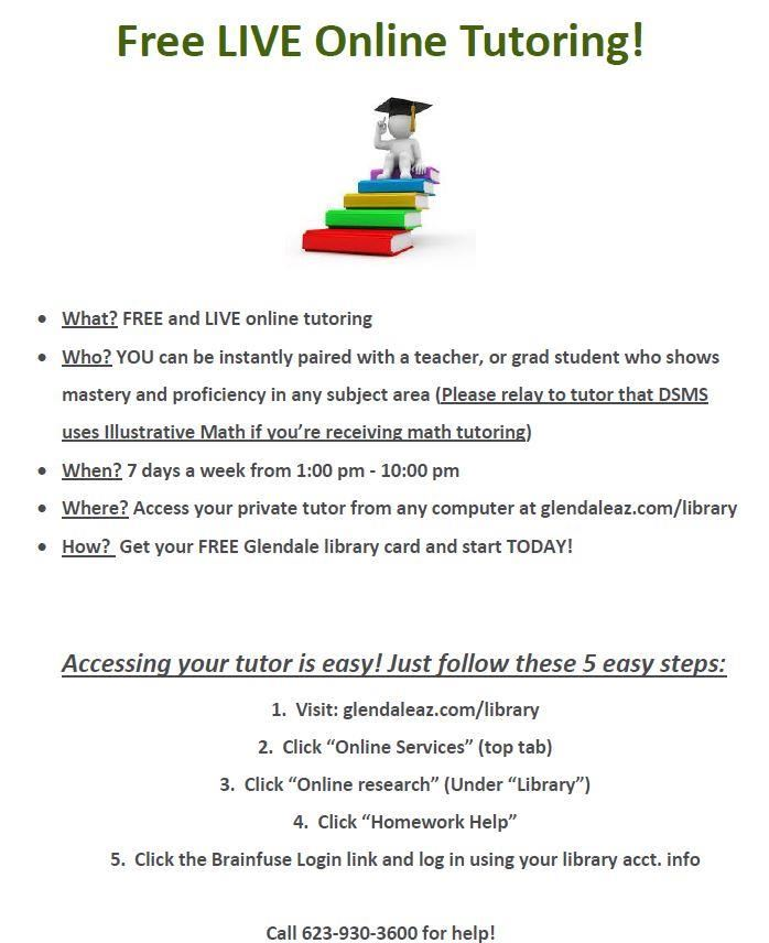 Flyer for Live online tutoring