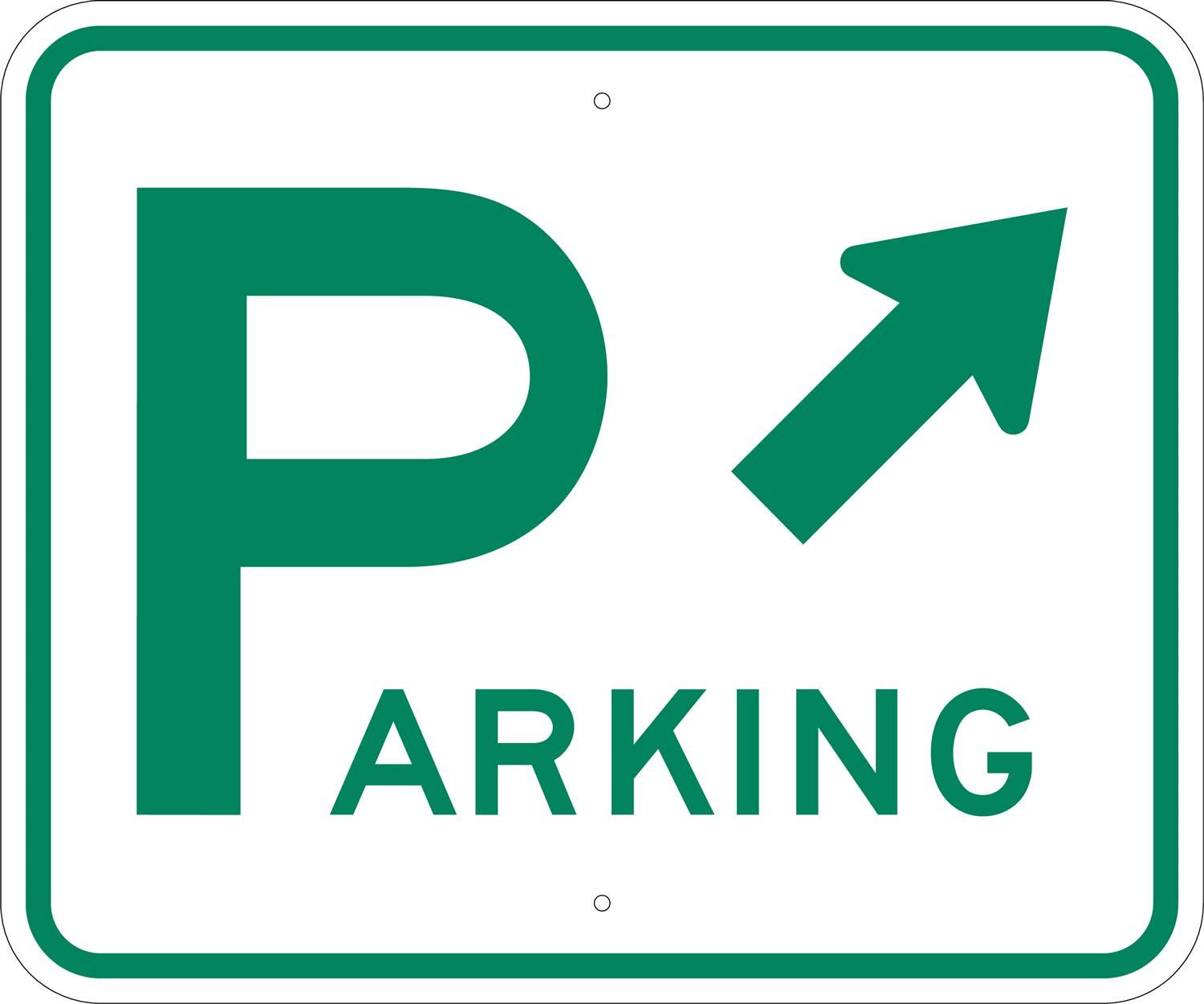 Parking, with an arrow
