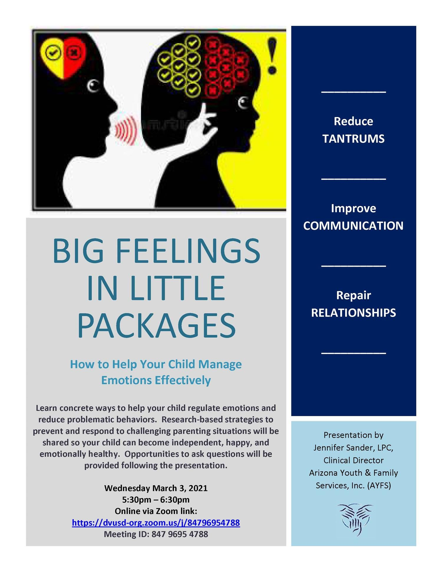 Webinar - March 3! How to Help Your Child Manage Emotions Effectively