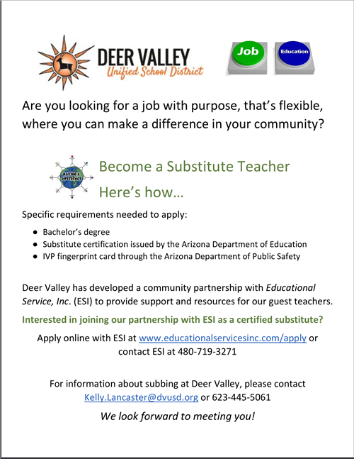 substitute teacher flyer with information