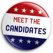 Meet the Candiates on a lapel button
