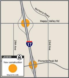 Map of Happy Valley, Pinnacle Peak and I-17 freeway