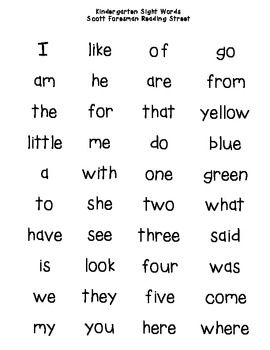 Kindergarten 40 Kindergarten Sight Words