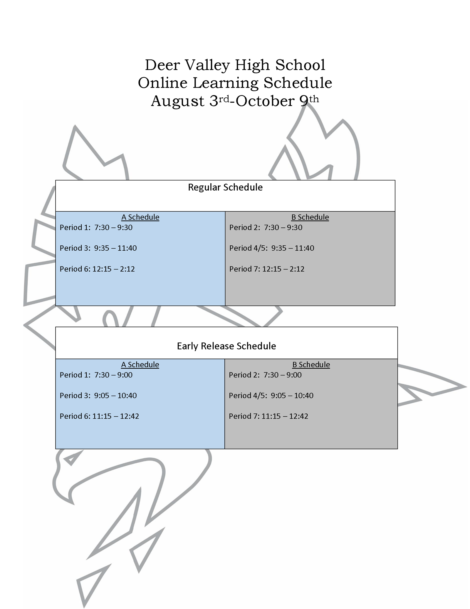 Online Learning Schedule
