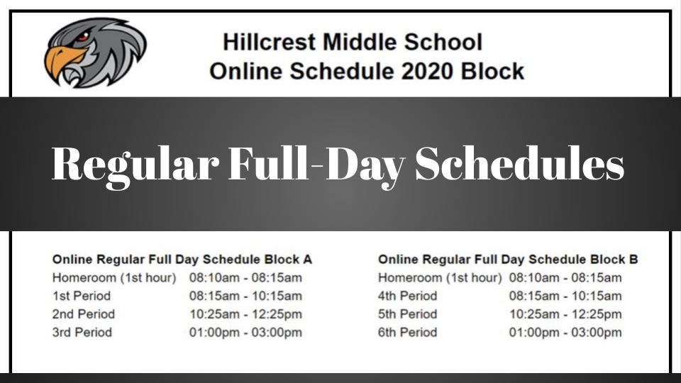 Regular full day schedule