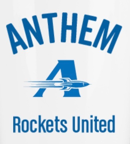 Blue A with saying, Anthem Rockets United