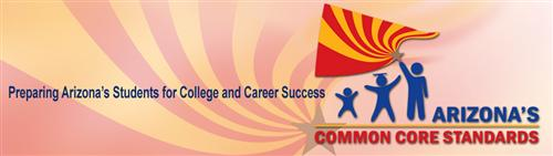 Arizona Common Core Standards banner with three stick figures & the state flag.