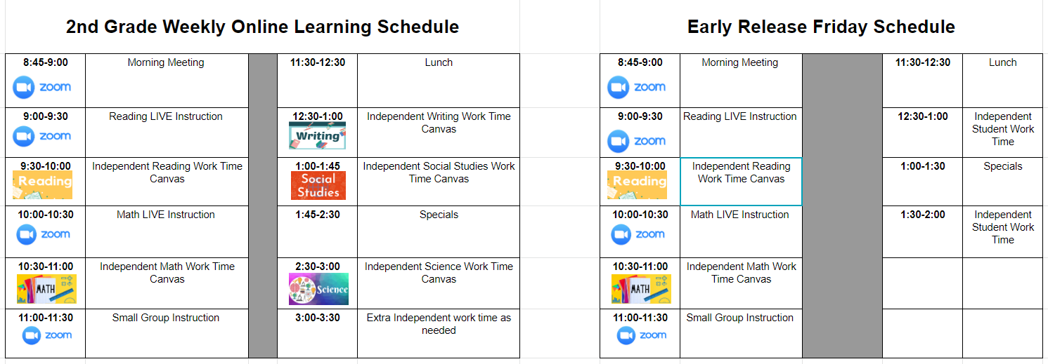 Q1 Online Learning Weekly Schedule