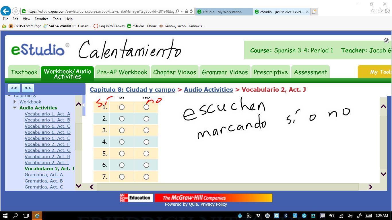 Workbooks quia workbook : Gabow, Jacob / Spanish 3-4