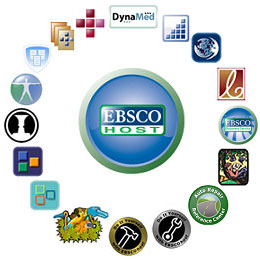 Picture of EBSCO logo and other search logos.