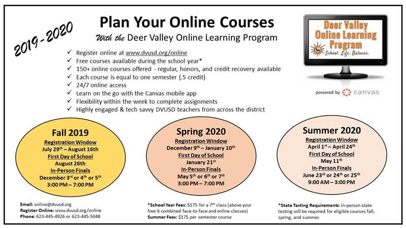 Dvusd Calendar 2020 Online Courses / 2019 2020 Online High School Flyer