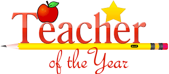 Teacher of the Year sign with an apple and a star