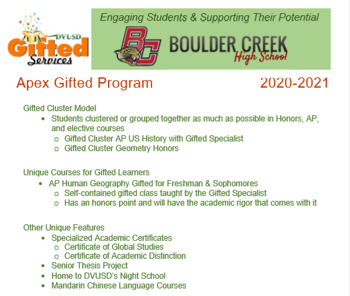gifted services info for Boulder Creek Highschool