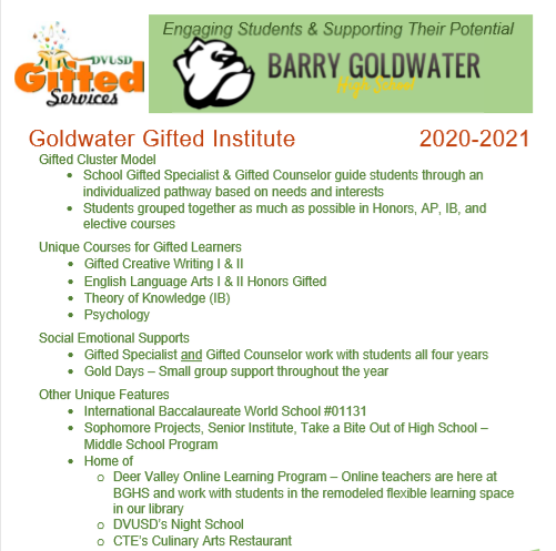 gifted services info for Barry Goldwater Highschool