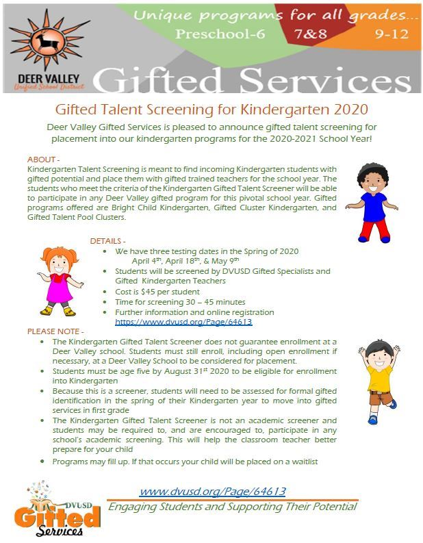 Dvusd Calendar 2021-22 Gifted Services / Kindergarten Screening