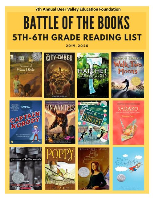 Battle of the Books 5th and 6th grade reading list