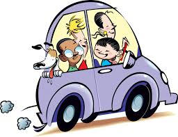 Cartoon of kids in a car driving someplace