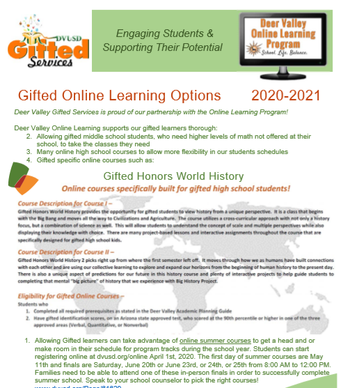 gifted services info for Online Services