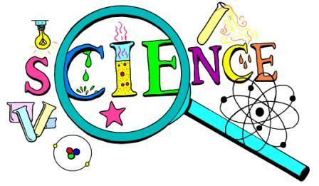 "The word ""science"" with scientific symbols and instruments."