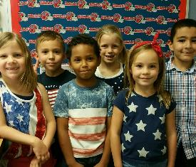 Students are showing their patriotism by wearing red, white, and blue!